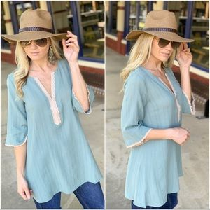Sage lace trim cotton tunic
